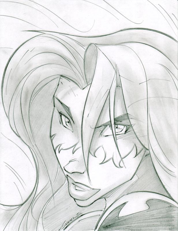 Firestar Avengers Sketchshot by StevenSanchez
