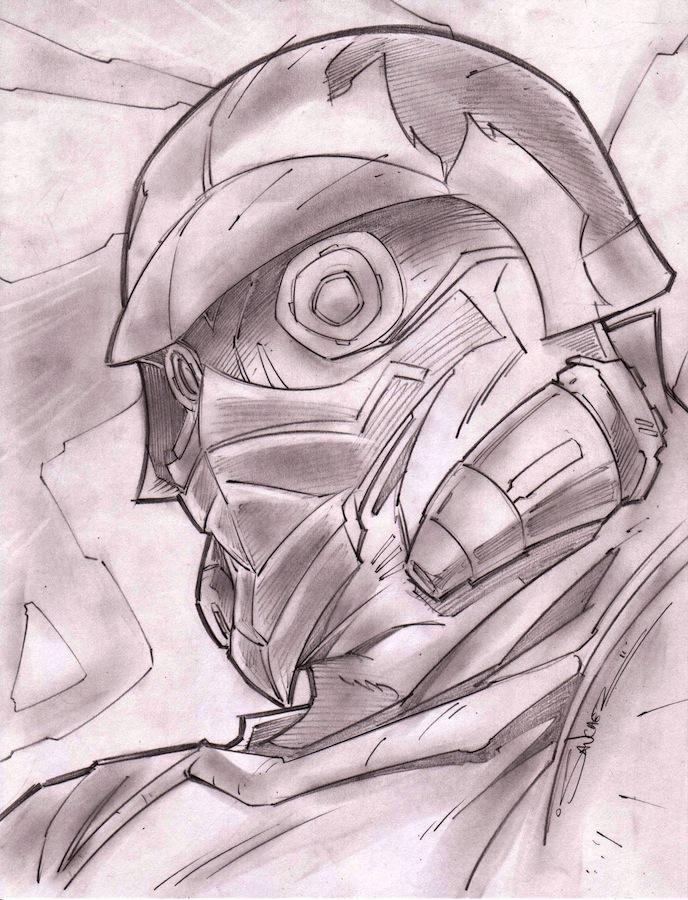 Star lord Sketch Shot by StevenSanchez