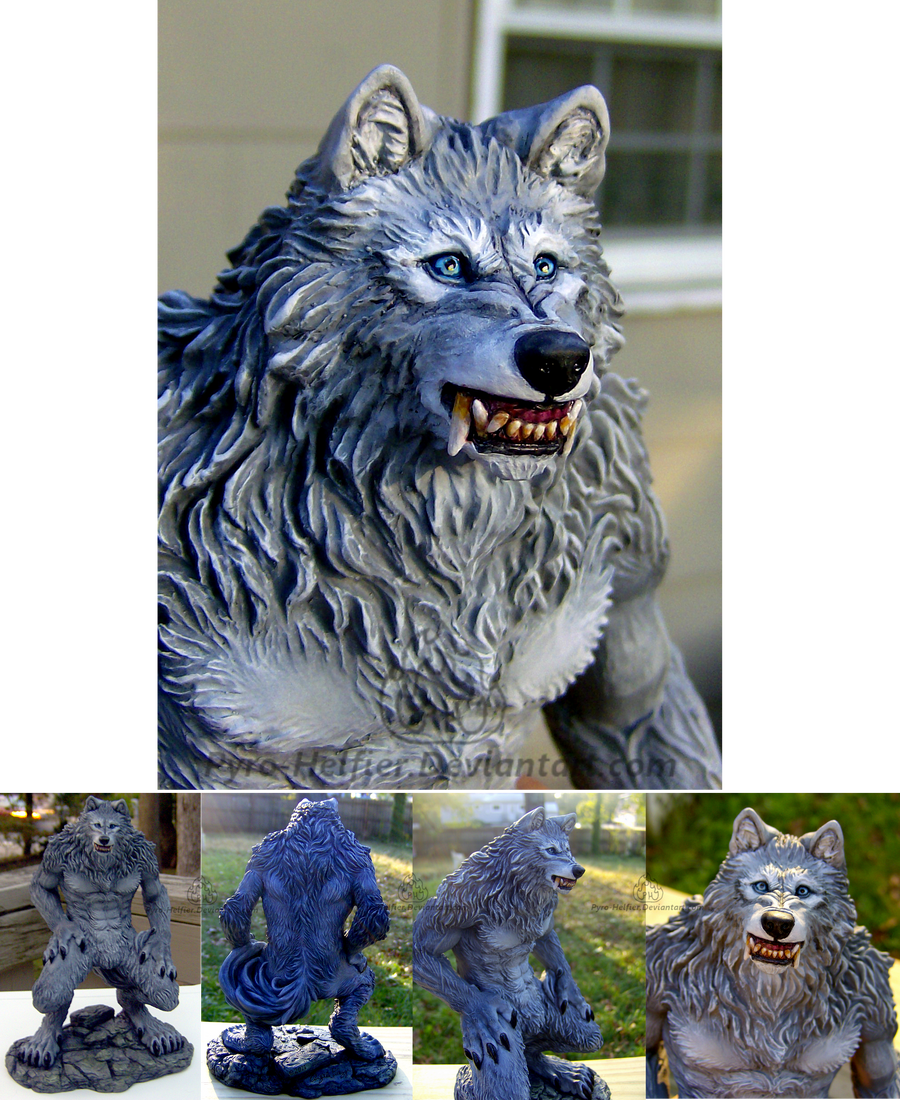 Werewolf Statue Paint-up by pyro-helfier