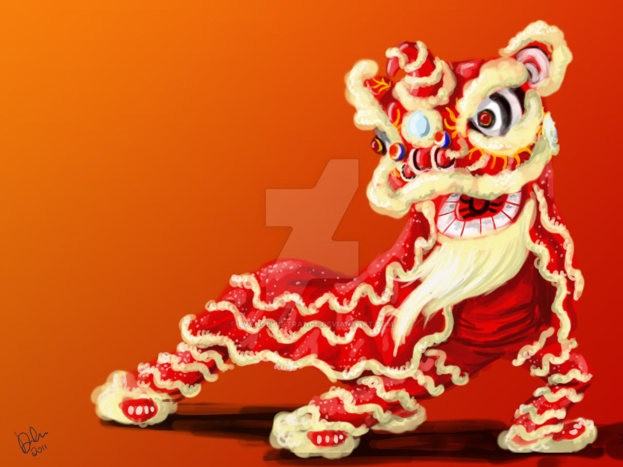 Pubg By Sodano On Deviantart: Chinese Lion Dance Painting