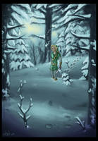 Link in a snowy forest by Wictorian-Art