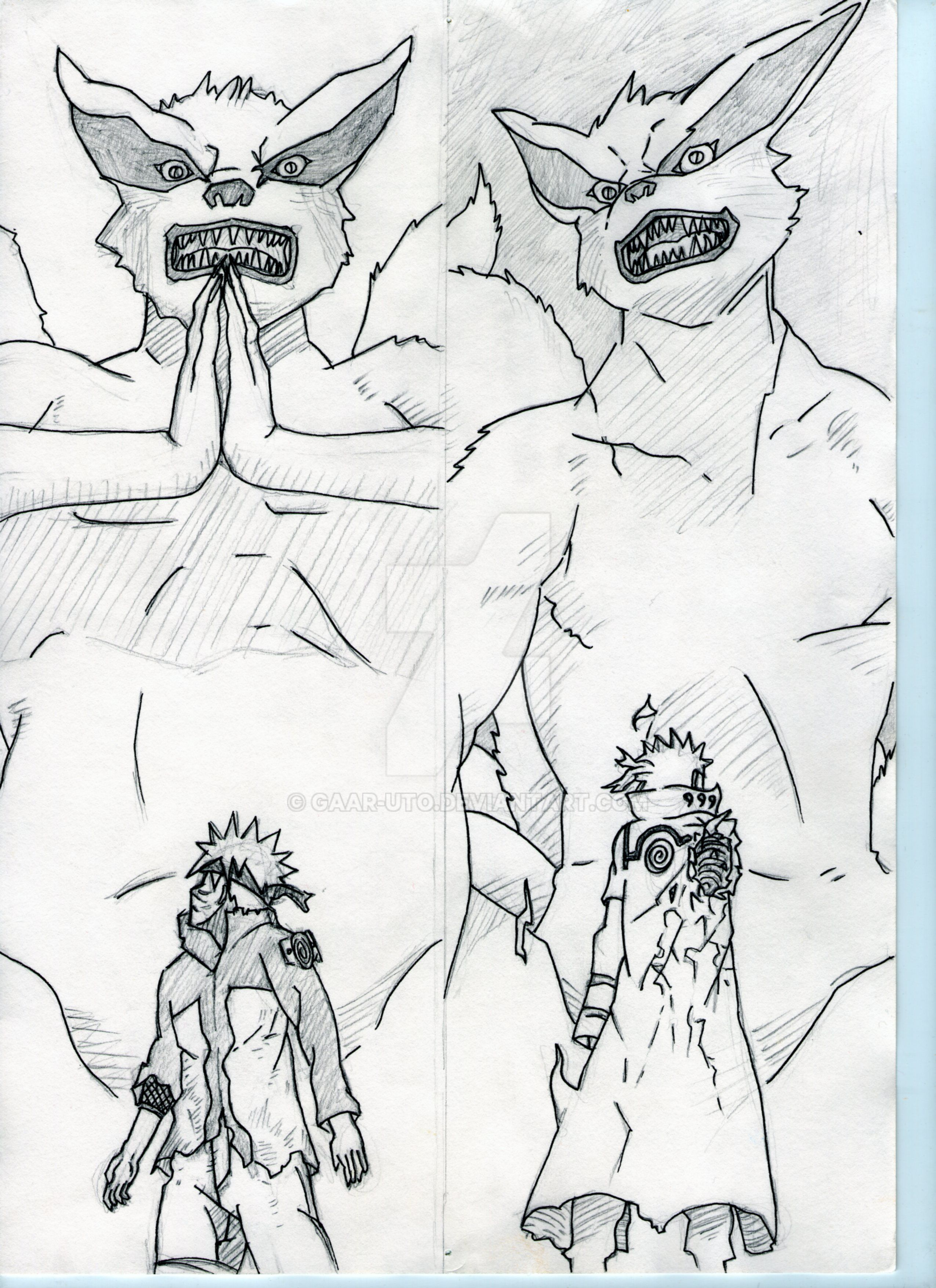 Naruto+Minato+Kurama by Gaar-uto