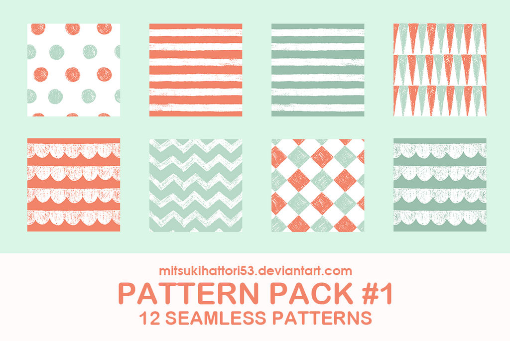 Pattern Pack #1: 12 SEAMLESS PATTERNS by mitsukihattori53