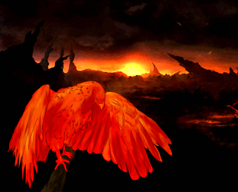 Phoenix at dusk - Animation by Twimper