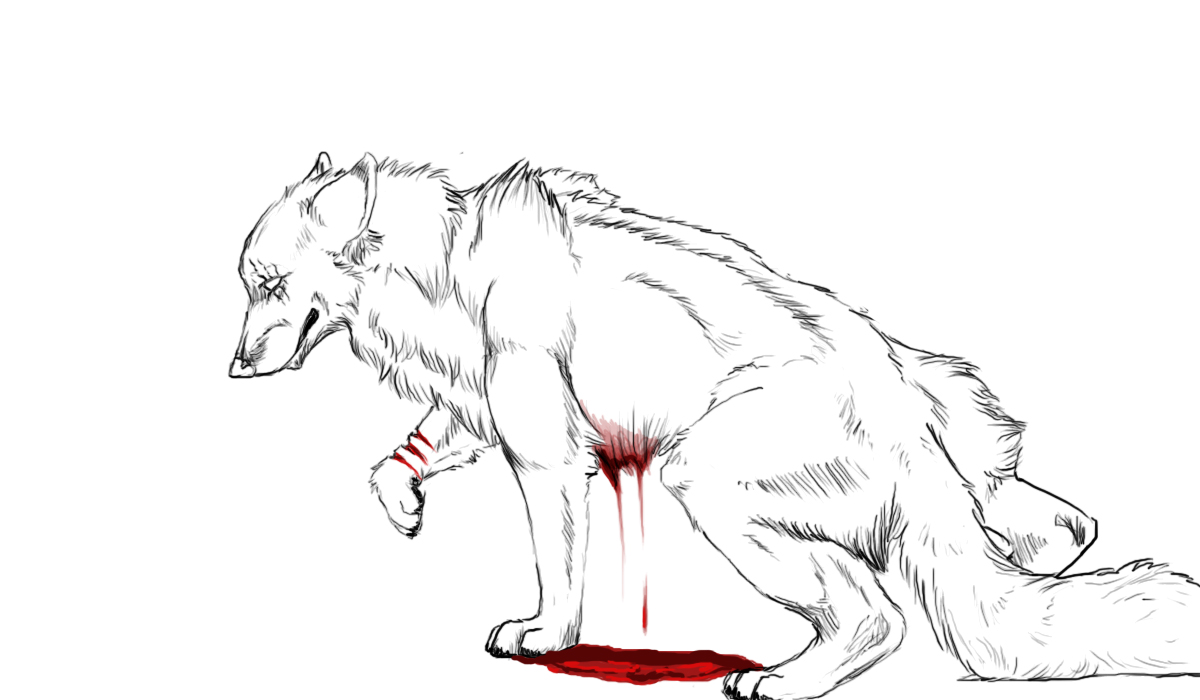Wolf Dieing Coloring Pages