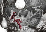 Red Riding Hood and the Werewolf in chains