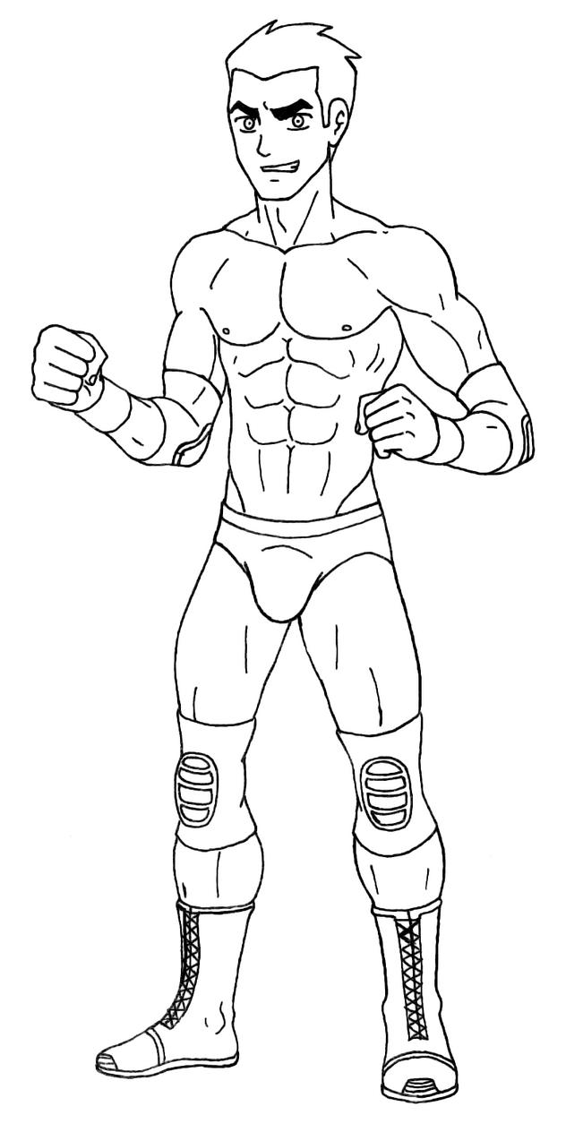 Line Art Generator : Generator rex pro wrestler lineart commission by tuf