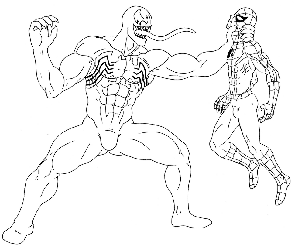 Venom vs Spider-man - Lineart by 09tuf