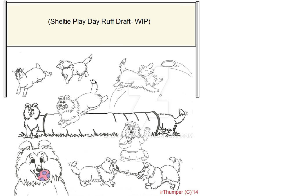 Sheltie Play Day Ruff Draft1 by IrThumper