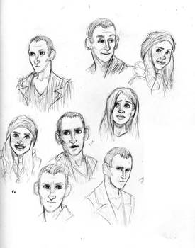 ninth doctor and rose doodles