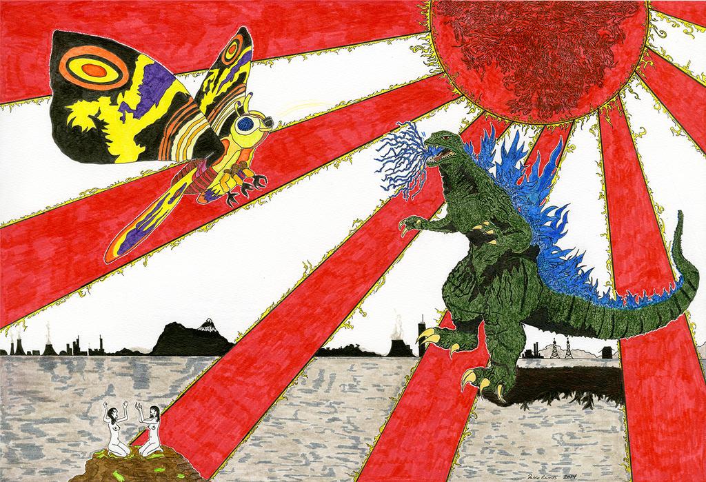 Godzilla Vs Mothra by Pabloramosart