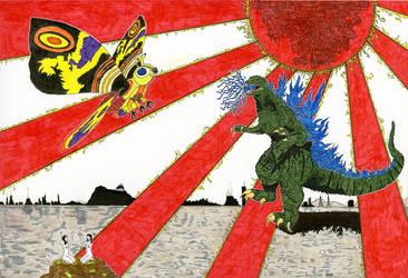 Godzilla Vs Mothra by creativesnatcher69