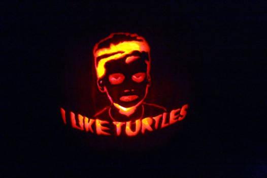 I like Turtles kid pumpkin I carved