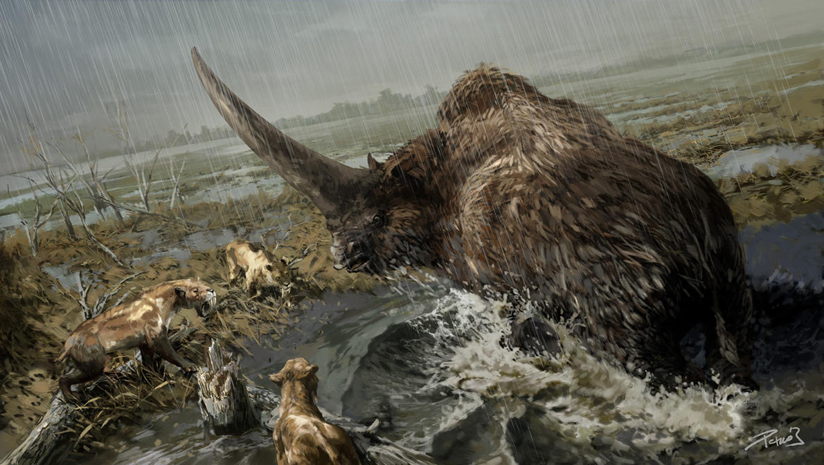 Prehistoric Mammals Elasmotherium by Balcsika