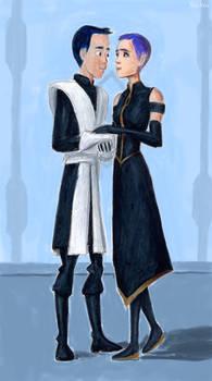 Ezra and Sabine Formally Dressed