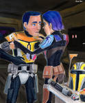 Sabine Helps Ezra don Beskar armor by Taipu556