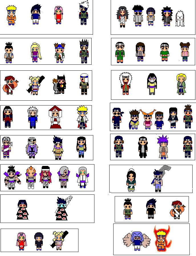 Naruto Pixel Chibi Cast By Ichigohollow