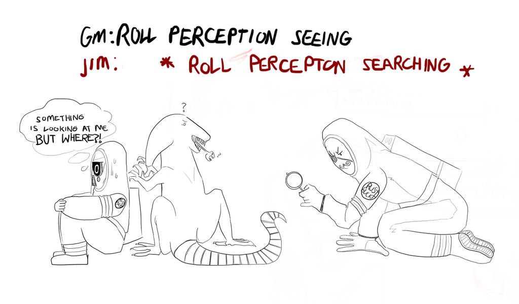 DnD doodle: roll perception by angel-poloo