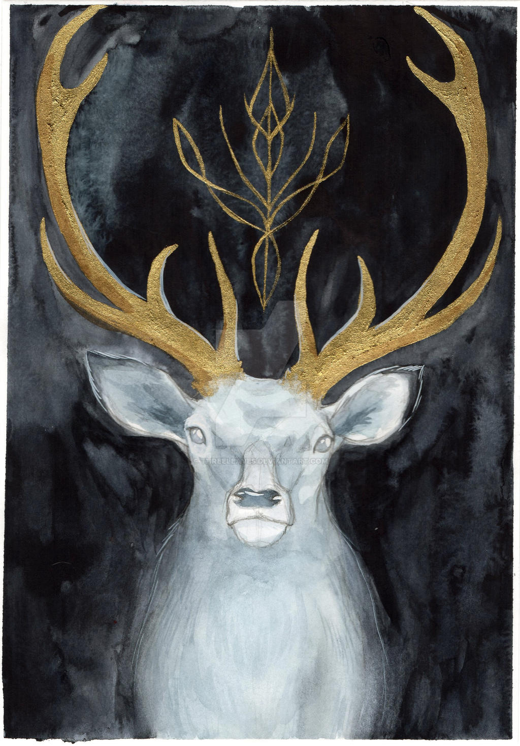 Watercolor painting of a deer with golden antlers.