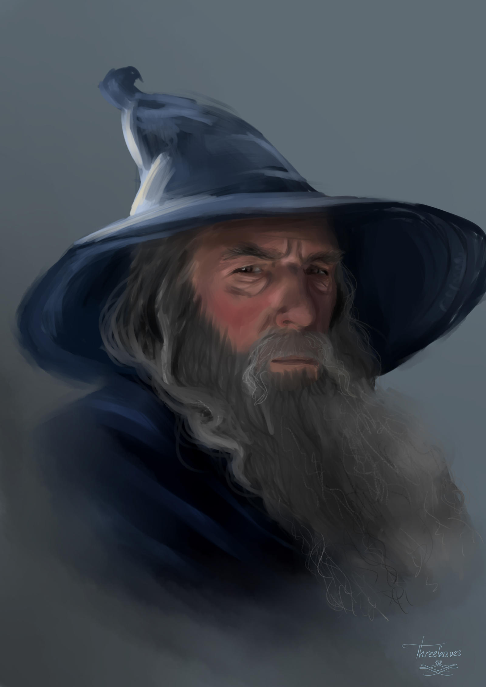 Digital portrait of Gandalf.