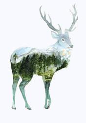 Blue Lake Deer by ThreeLeaves