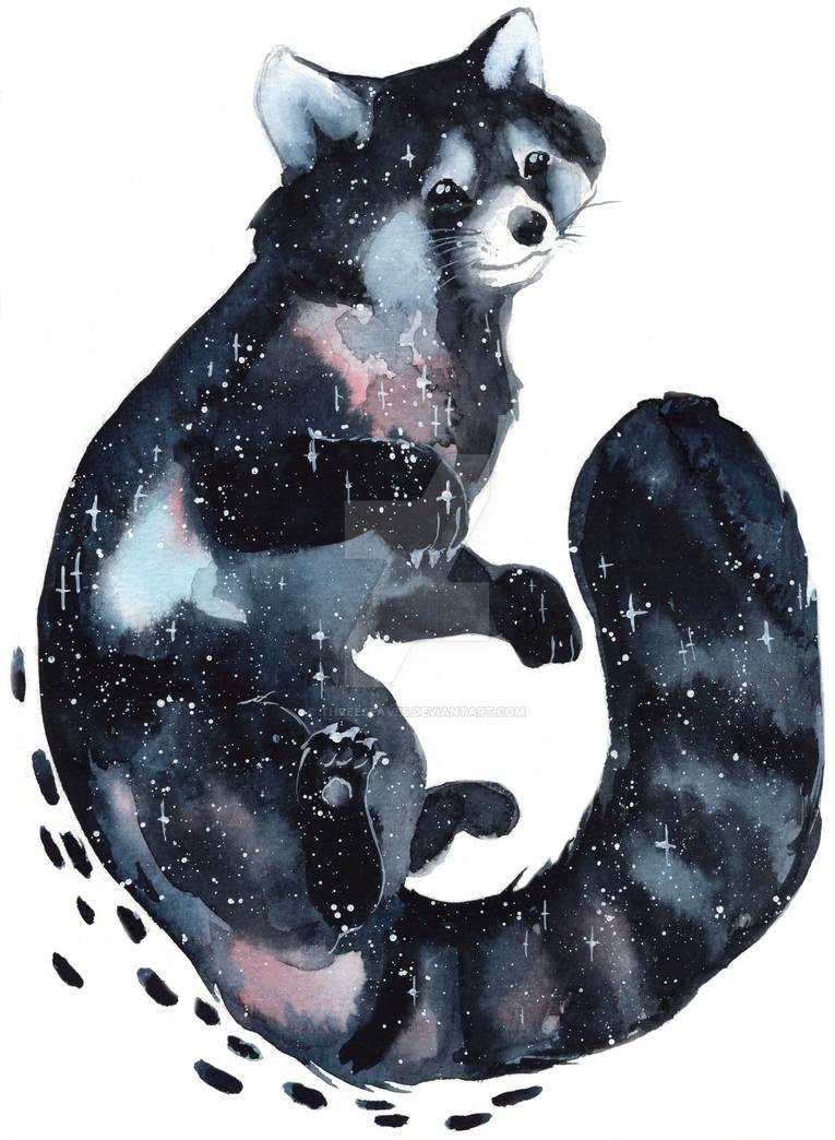 Galaxy Red Panda by ThreeLeaves