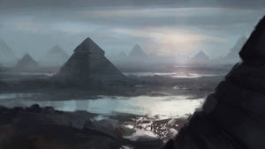 Landscape with pyramids