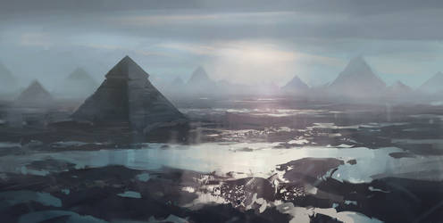 Landscape with pyramids v2 by merl1ncz