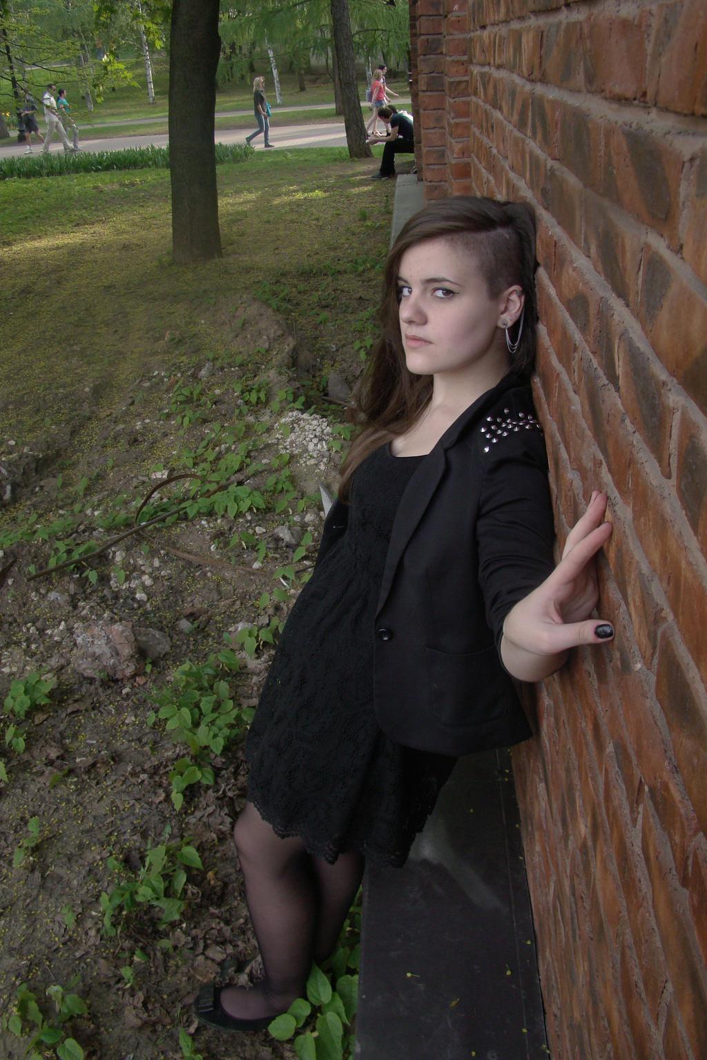 Irina black dress stock 7 by Panopticon-Stock