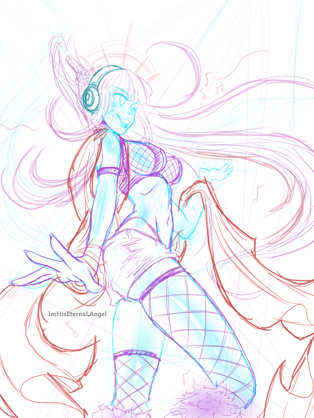 Sketch - Raver Girl by EmeraldAngelStudio