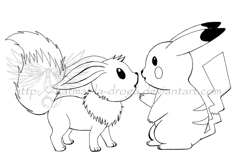Love Eevee And Pikachu Coloring Pages Coloring Pages