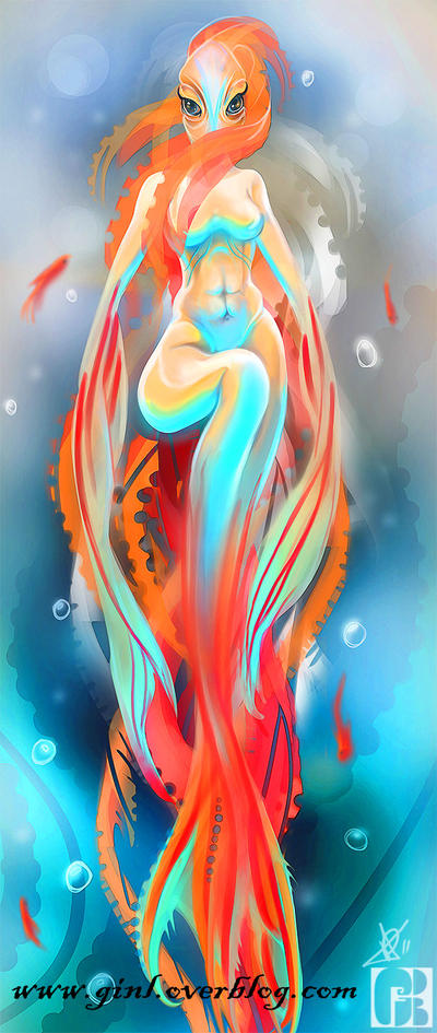 [ginL] illustrations and cie Red_mermaid_by_ginl-d4hkzev