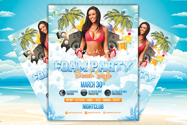 Foam Party  Beach Style  Flyer Template By LouistwelveDesign On