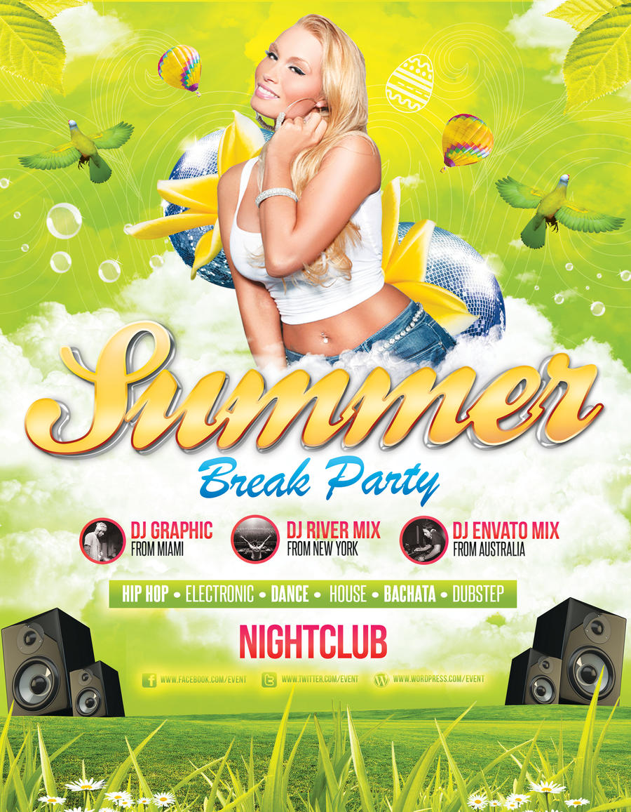 Summer Easter Spring Party Flyer Template by LouisTwelve – Spring Party Flyer