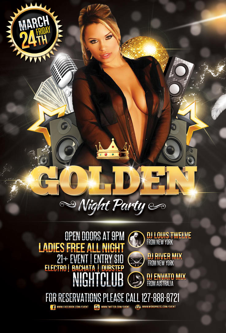 Golden night party flyer template by louistwelve design for Golden night