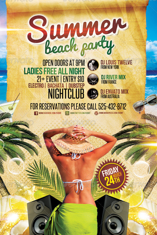 Summer Beach Party Flyer Template by LouisTwelveDesign on – Beach Party Flyer Template