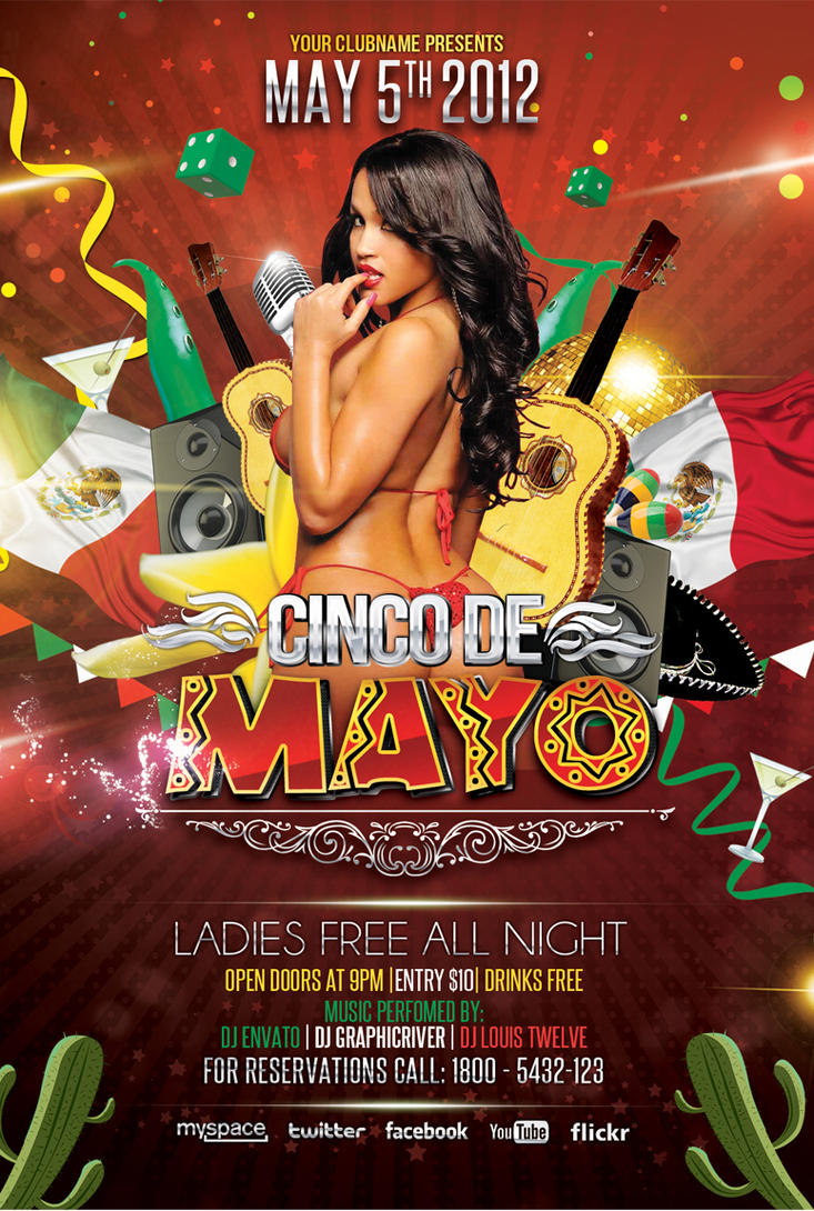 cinco de mayo party flyer template 2 by louistwelve design on