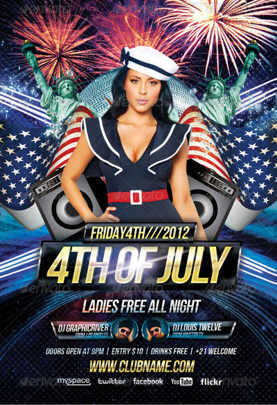 4th of july party flyer   facebook timeline cover by