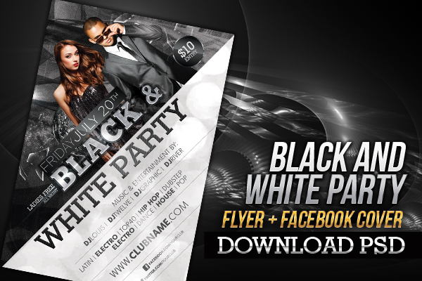 Black And White Party Flyer Facebook Cover By Louistwelve Design