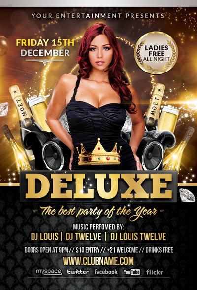 Deluxe New Year Flyer Template Facebook Cover By Louistwelve
