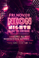 Neon Nights / Glow Party | Flyer + Facebook Cover by LouisTwelve-Design