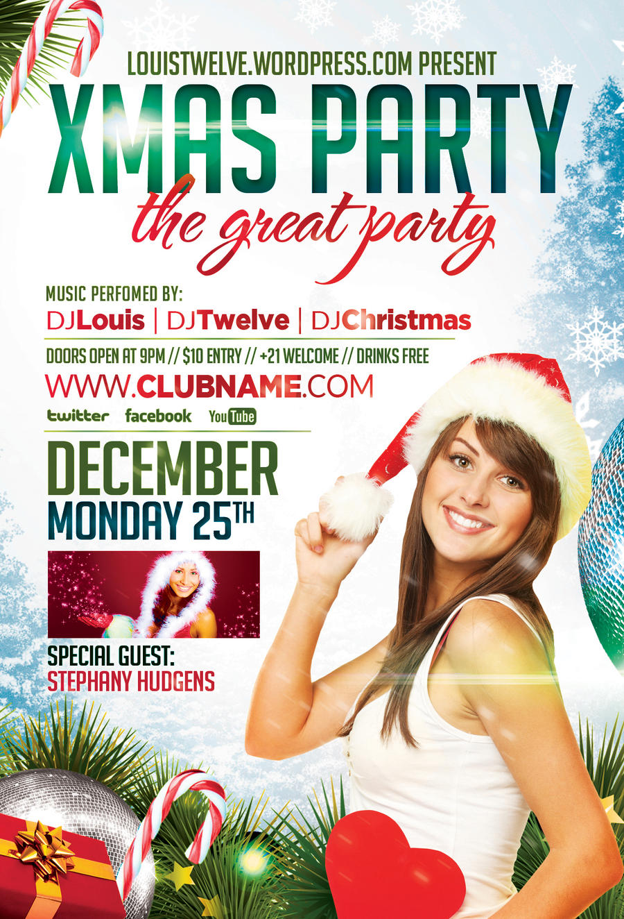 louistwelve xmas party flyer facebook timeline cover