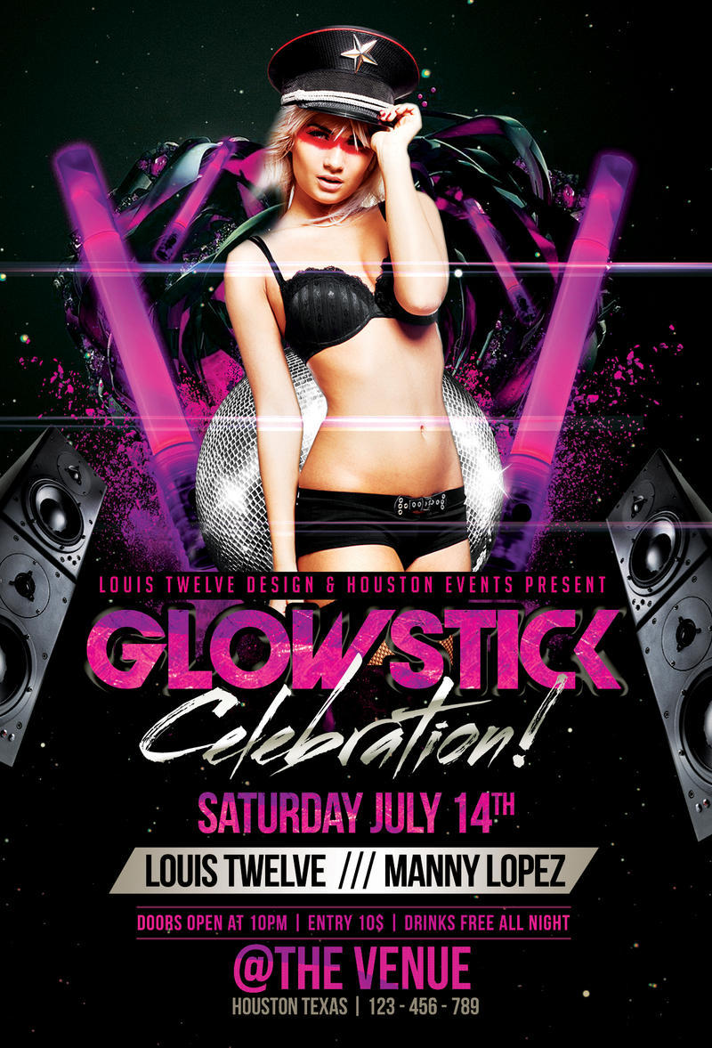 Glow Stick Party | Flyer Template + FB Cover by LouisTwelve-Design ...