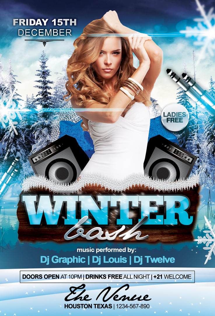 winter bash flyer template by louistwelve design on winter bash flyer template by louistwelve design