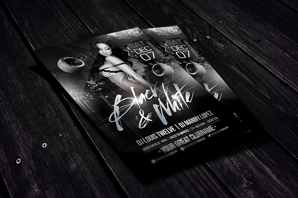 black and white flyer template by louistwelve design on deviantart. Black Bedroom Furniture Sets. Home Design Ideas
