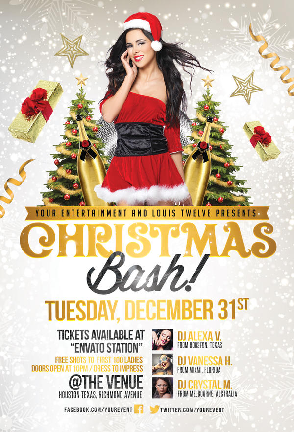 Christmas Party Flyer Template By Louistwelve Design On