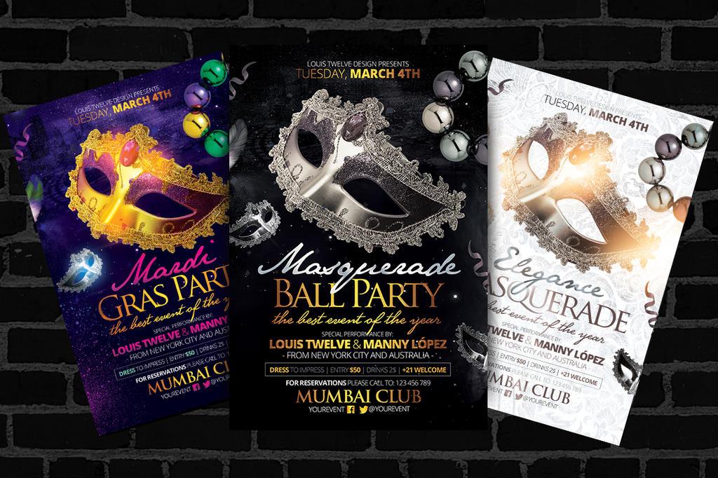 Masquerade Ball Mardi Gras Flyers Template By Louistwelve Design
