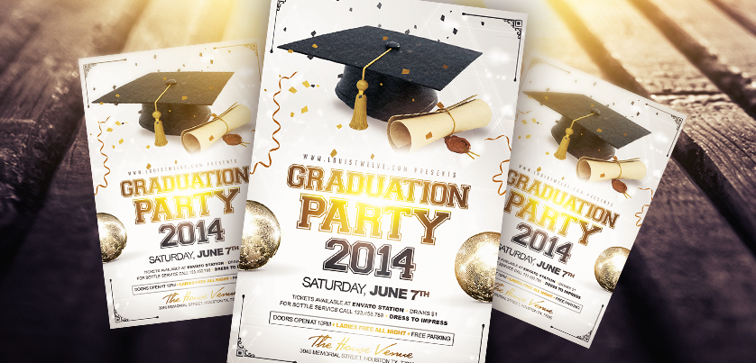 High Quality Graduation Party Flyer Template By LouisTwelve Design ...