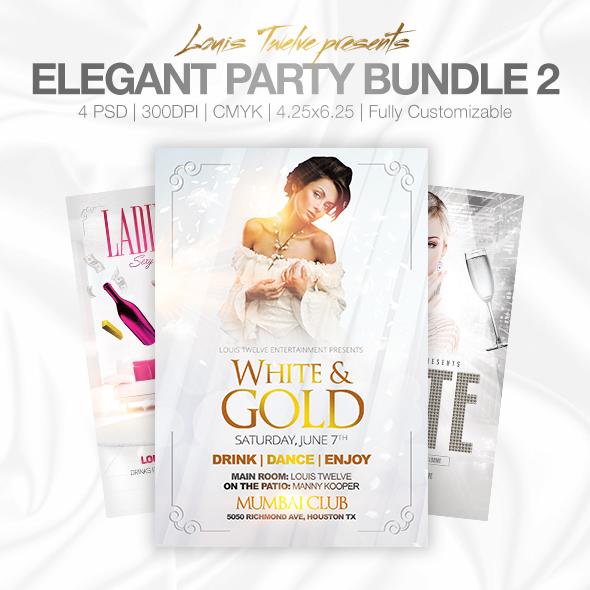 Elegant Party White Affair Edition Flyer Bundle by LouisTwelve-Design