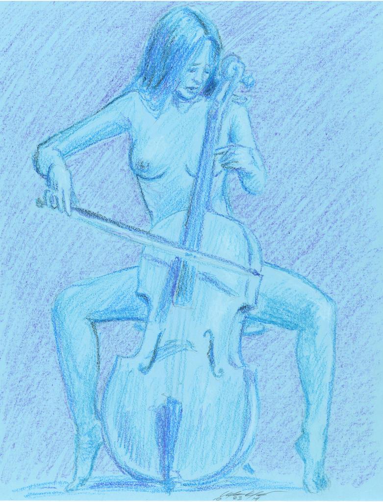 blue nude Cellist by mozer1a0x